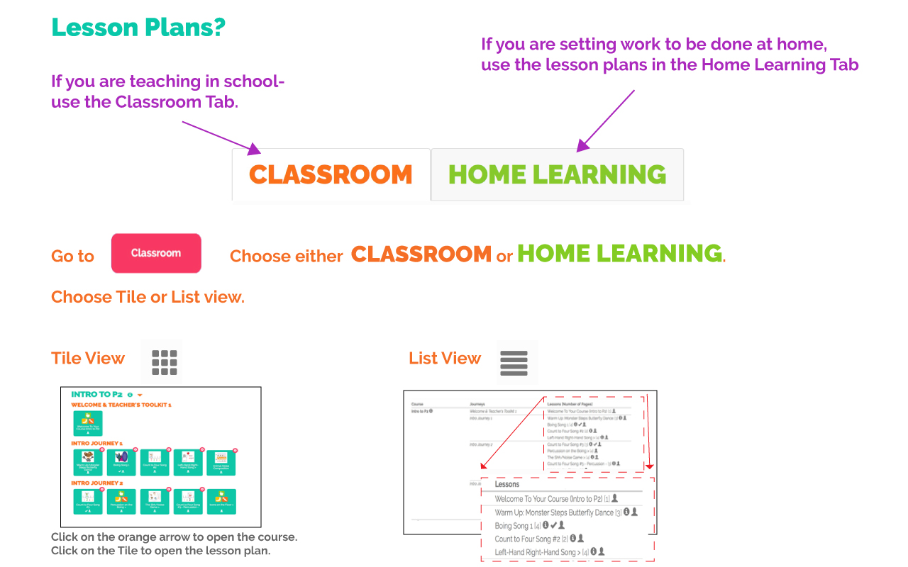 Where do i find Lesson plans incl Home Learning